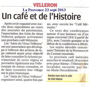 La Provence 23 sept 2013 Café Mémoire Velleron