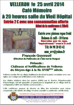 Affiche Café Mémoire Châteaux et fortifications de Velleron